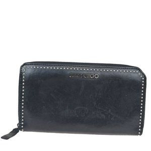 Jimmy Choo Studs Round Zipper Leather Wallet Black